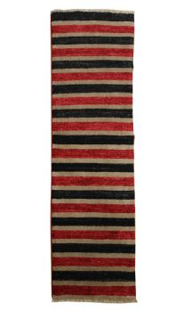 Handmade Afghan Gabbeh Short Red and Black Rug Runner